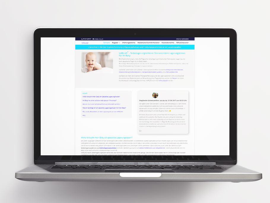 Varilag-Webseite vor dem Re-Branding