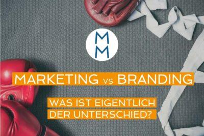 Bild mit Boxhandschuhen und dem Titel: Marketing vs. Branding. Was ist eigentlich der Unterschied?